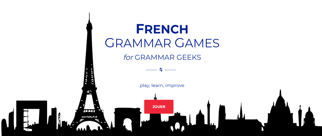 Image of the French Grammar Games website home page
