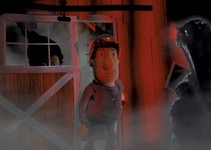 Image from Estralita (Little Star) animated video of father standing outside his barn