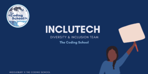 coding school logo, IncluTech team title, drawing of a black woman holding up a blank sign