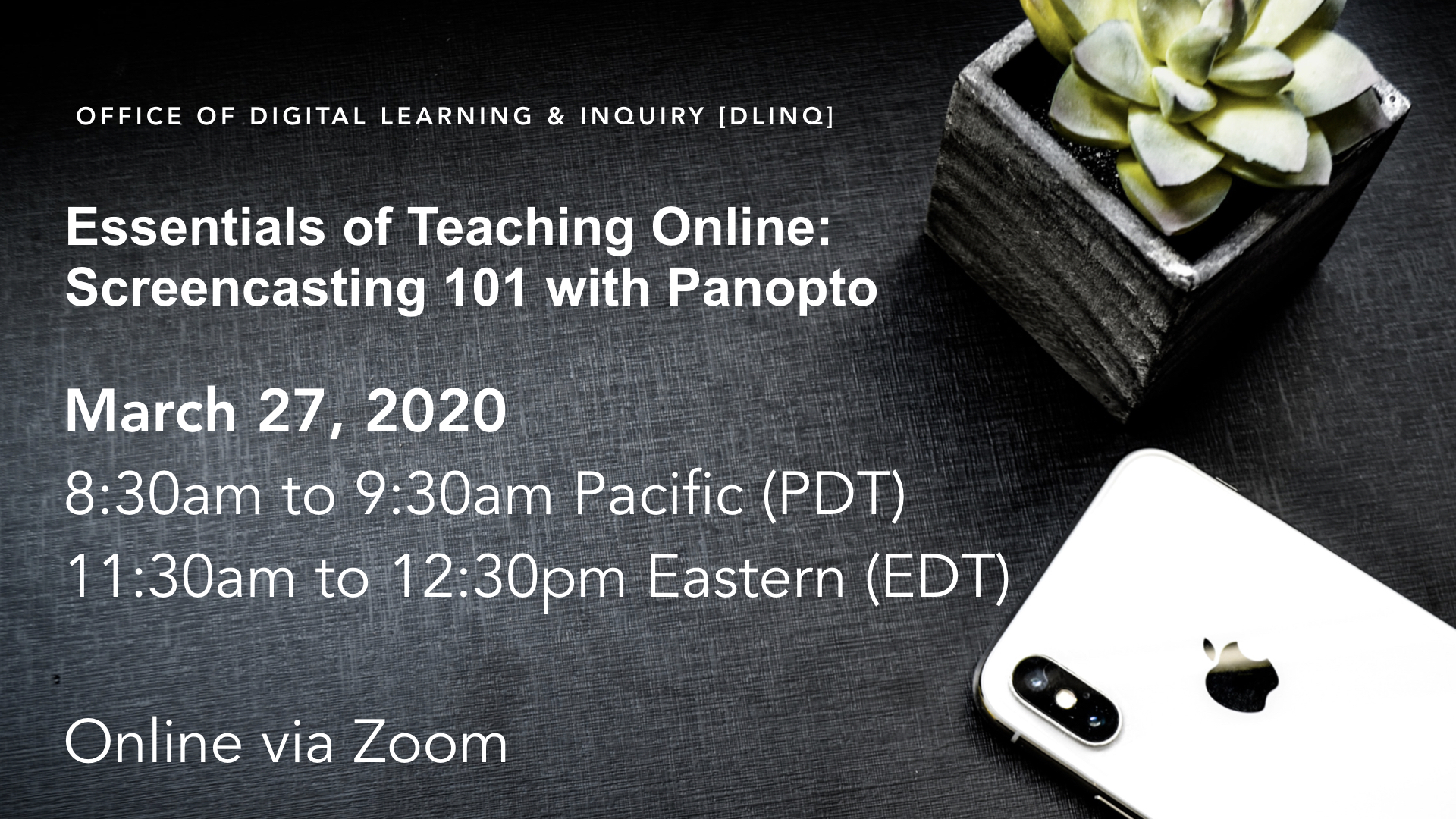 event sign for Panopto workshop
