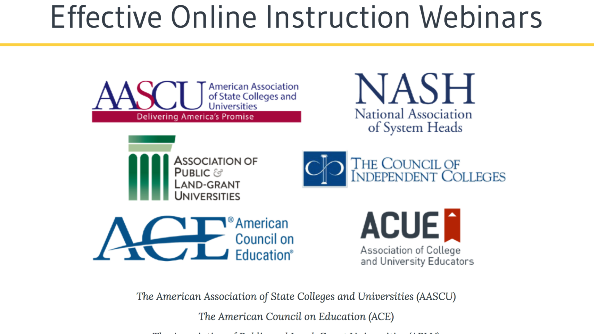 ACUE webinar homepage screenshot