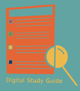 Illustration of a page of text with magnifying glass to represent the Digital Study Guide