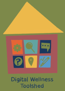 Illustration of a house with six windows to represent the Digital Wellness Toolshed