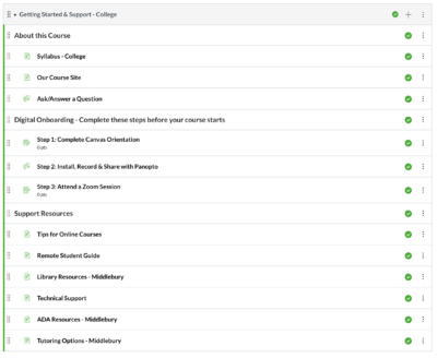 Screen shot of the Module for the College