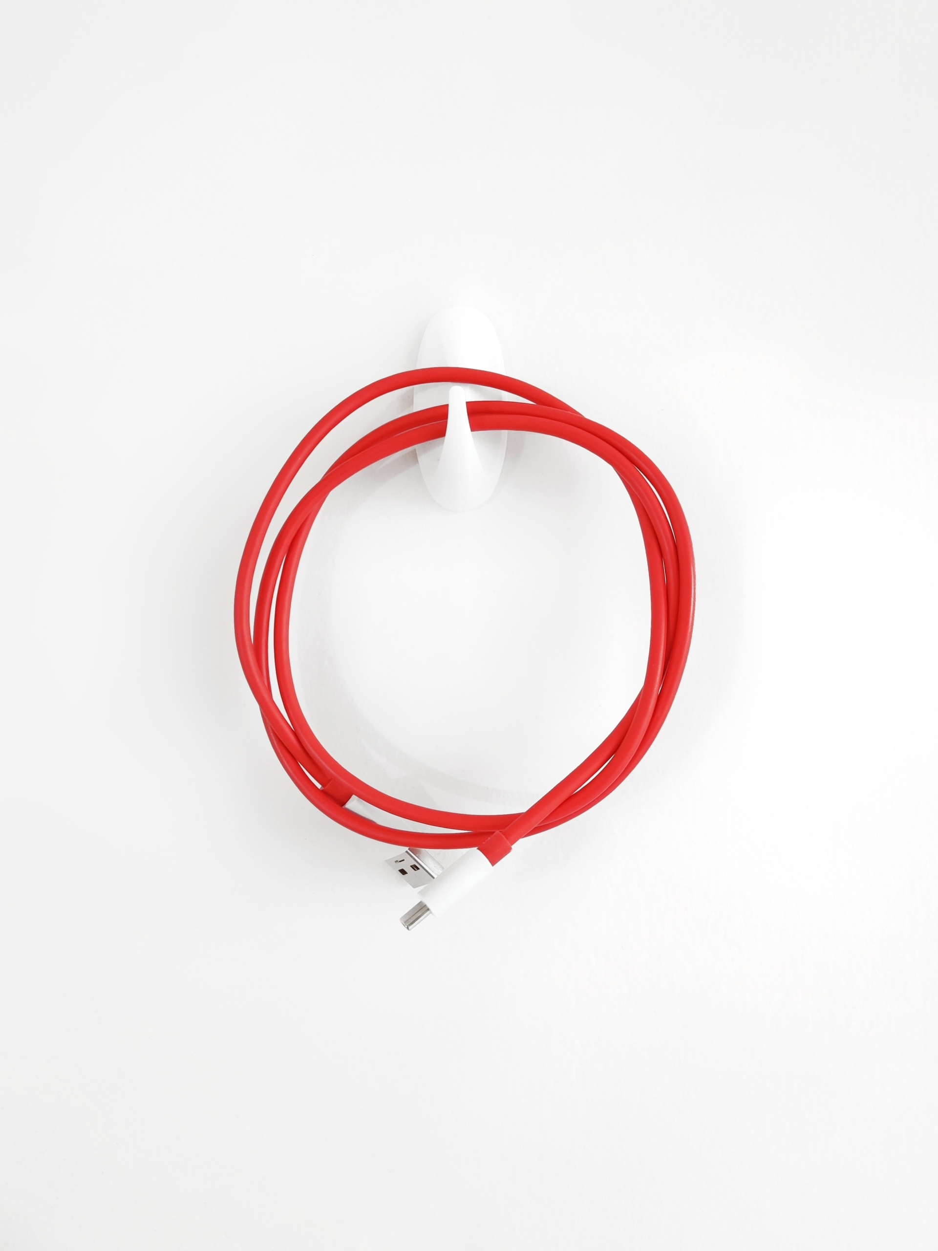 a red cord hangs on a wall hook
