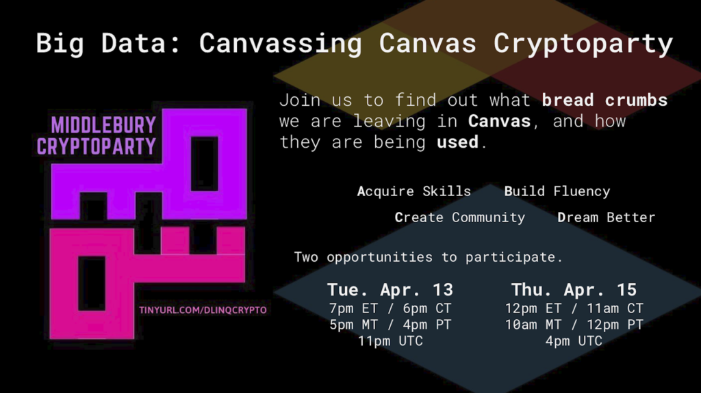 Big Data: Canvassing Canvas Cryptoparty, Thursday, April 15th, 2021