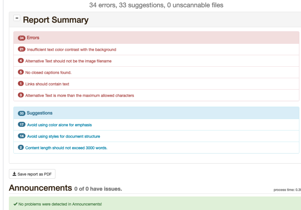 screenshot of UDOIT report