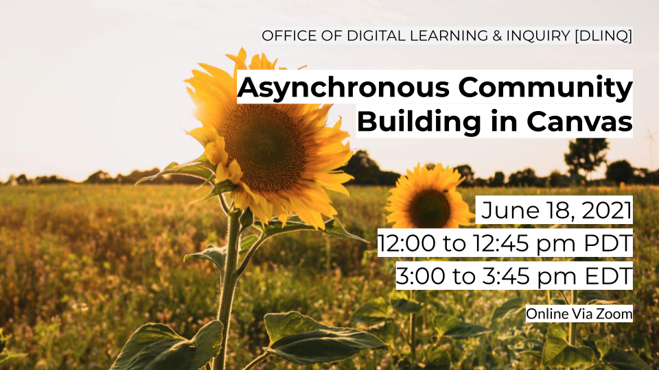 event sign for Asynchronous Community Building in Canvas workshop
