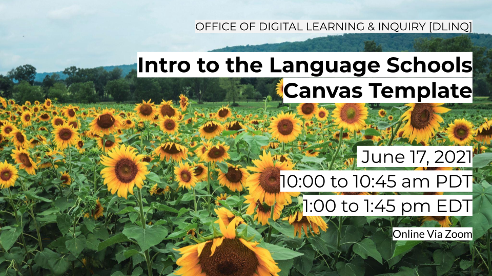 event sign for Intro to Language Schools Canvas Template workshop