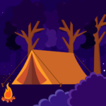 illustration of a tent, campfire, and trees at night