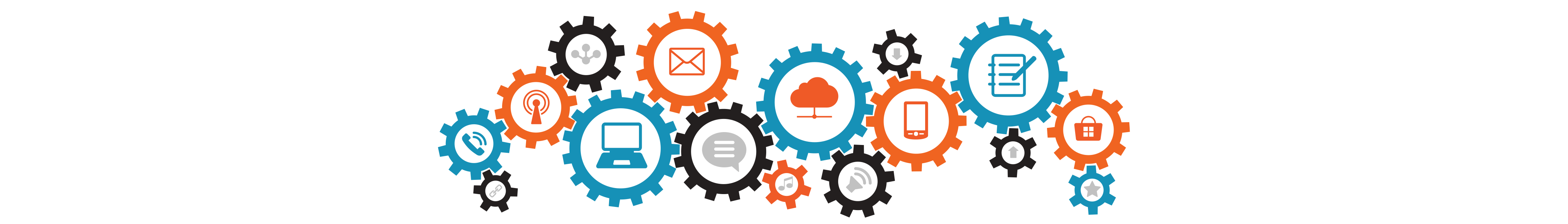 decorative illustration showing gears with digital icons in them