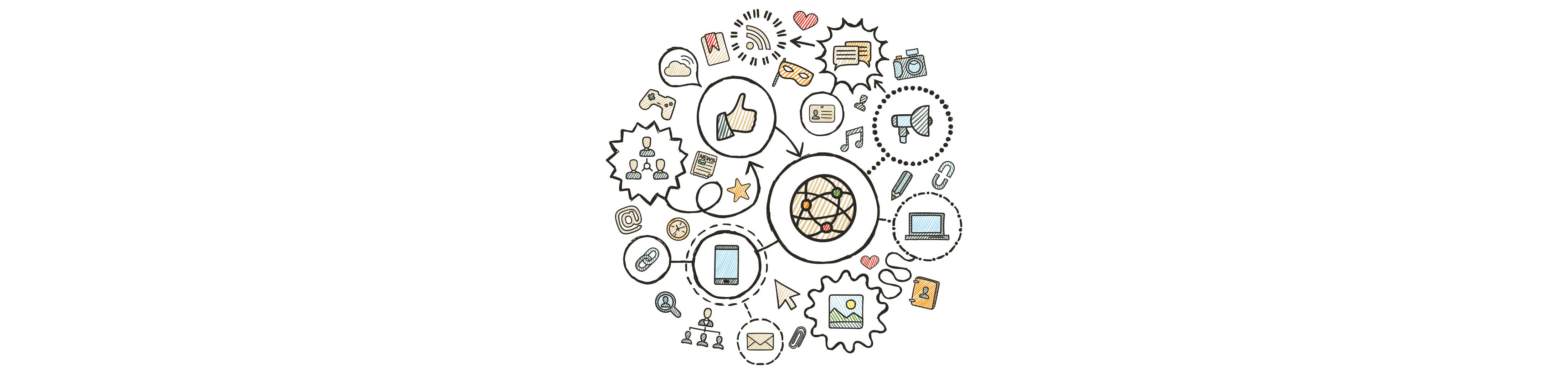 decorative illustration showing different digital icons arranged in and within a circle