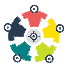 Illustration of people in different colored shirts in a circle