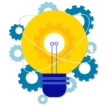 Illustration of a lightbulb surrounded by gears
