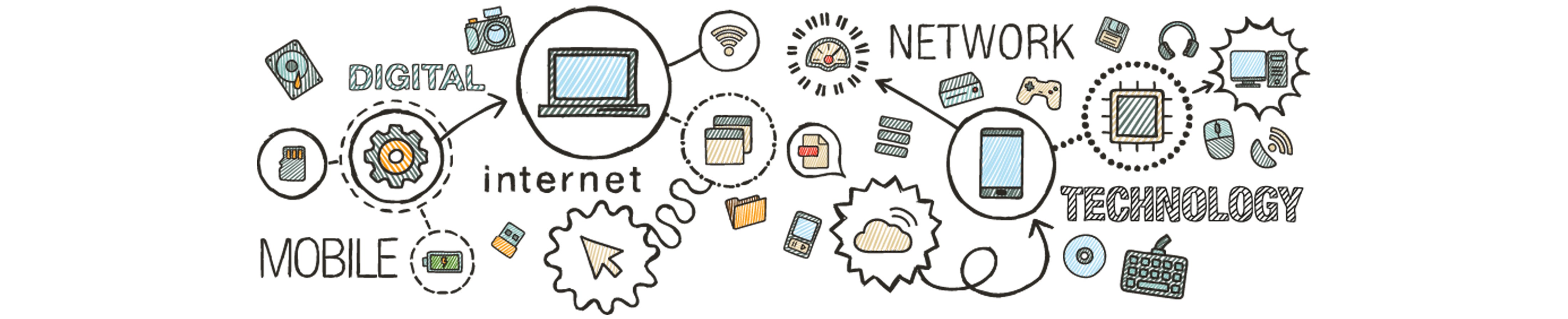 decorative header image showing various technology tools and icons